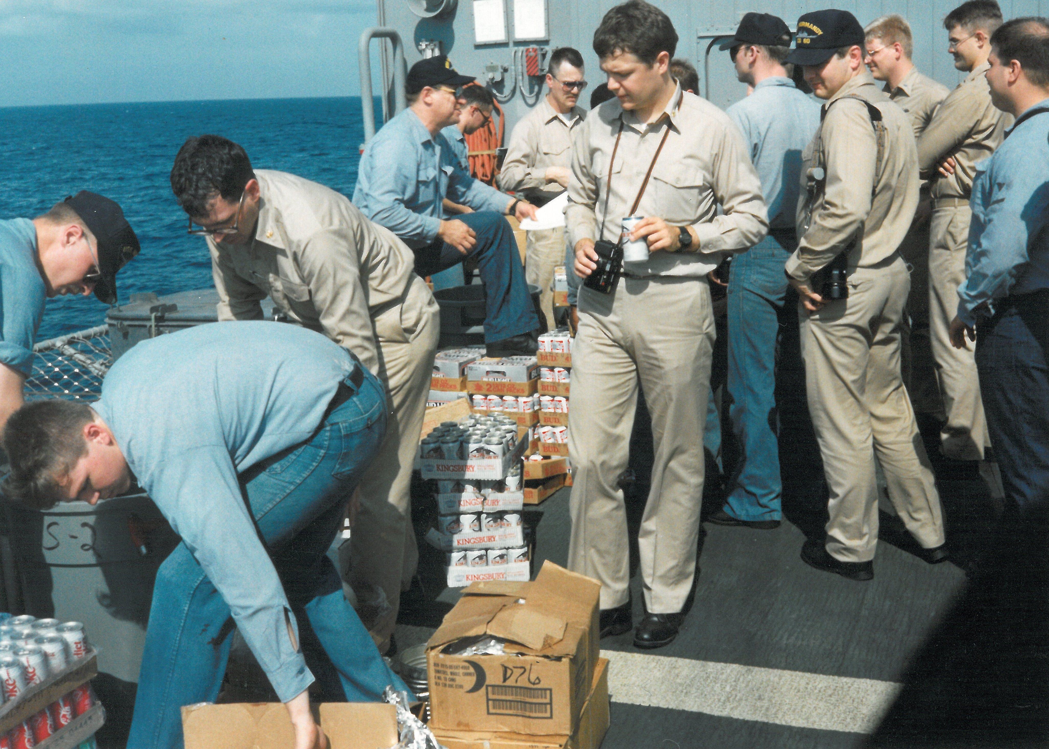 Sailors enjoy a beer day