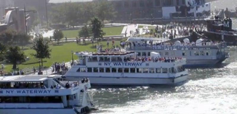 Ferries evacuating lower Manhattan. Still from the documentary Boatlift.