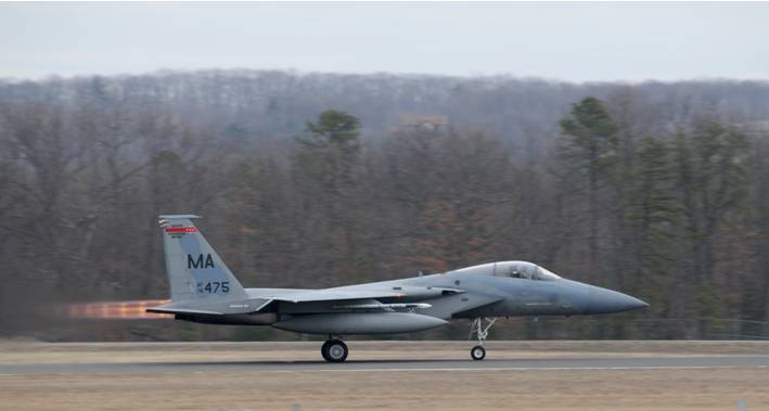 104th Air Wing F-15 Fighter at Barnes Air National Guard Base in 2009. US Air Force Photo