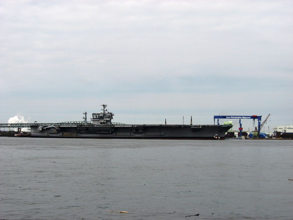 USS John F. Kennedy (CV-67) towed to Philadelphia in 2008.