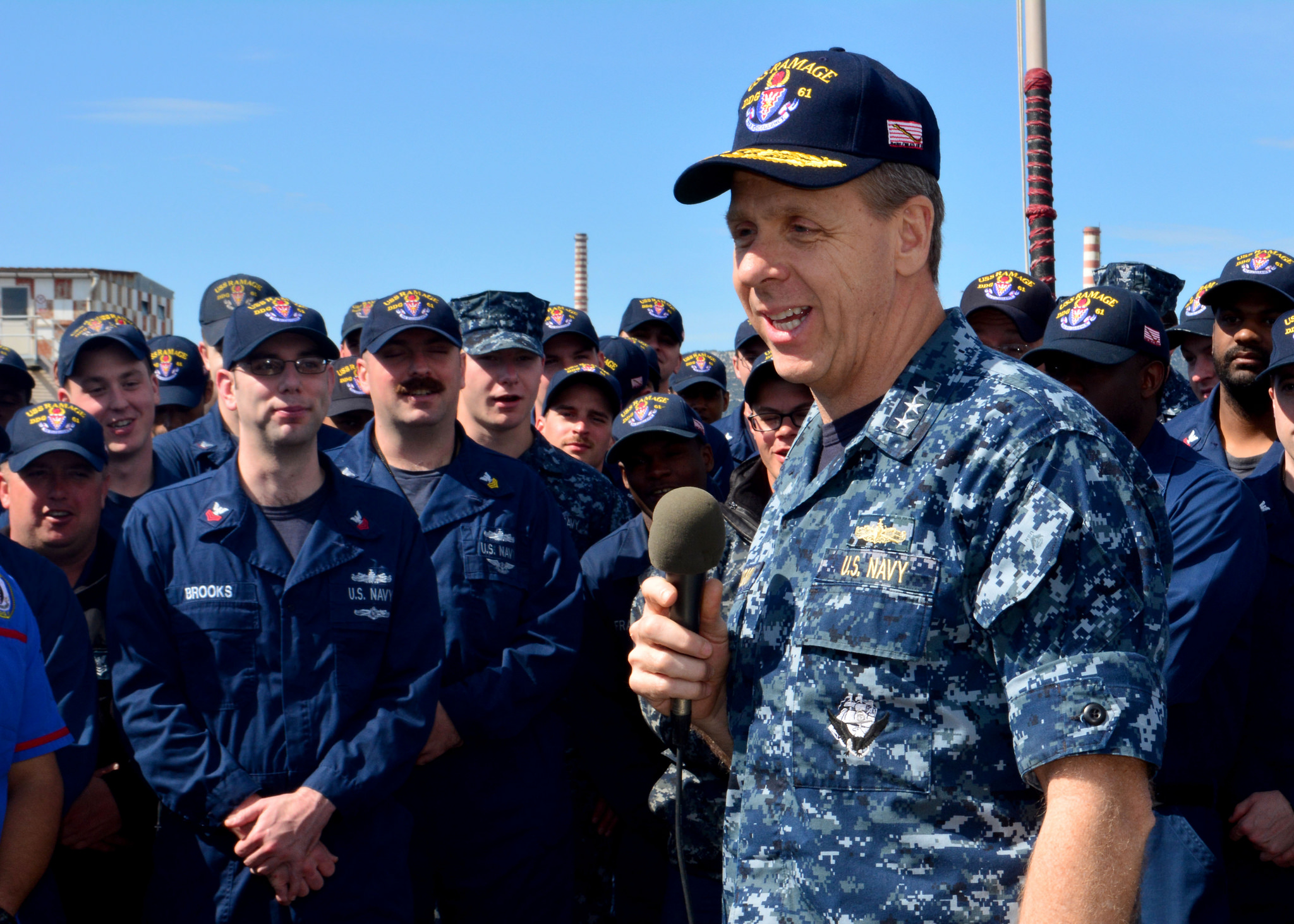 Vice Adm. Phil Davidson, commander, U.S. 6th Fleet, addresses the crew of USS Ramage (DDG-61) in April, 2014. US Navy Photo