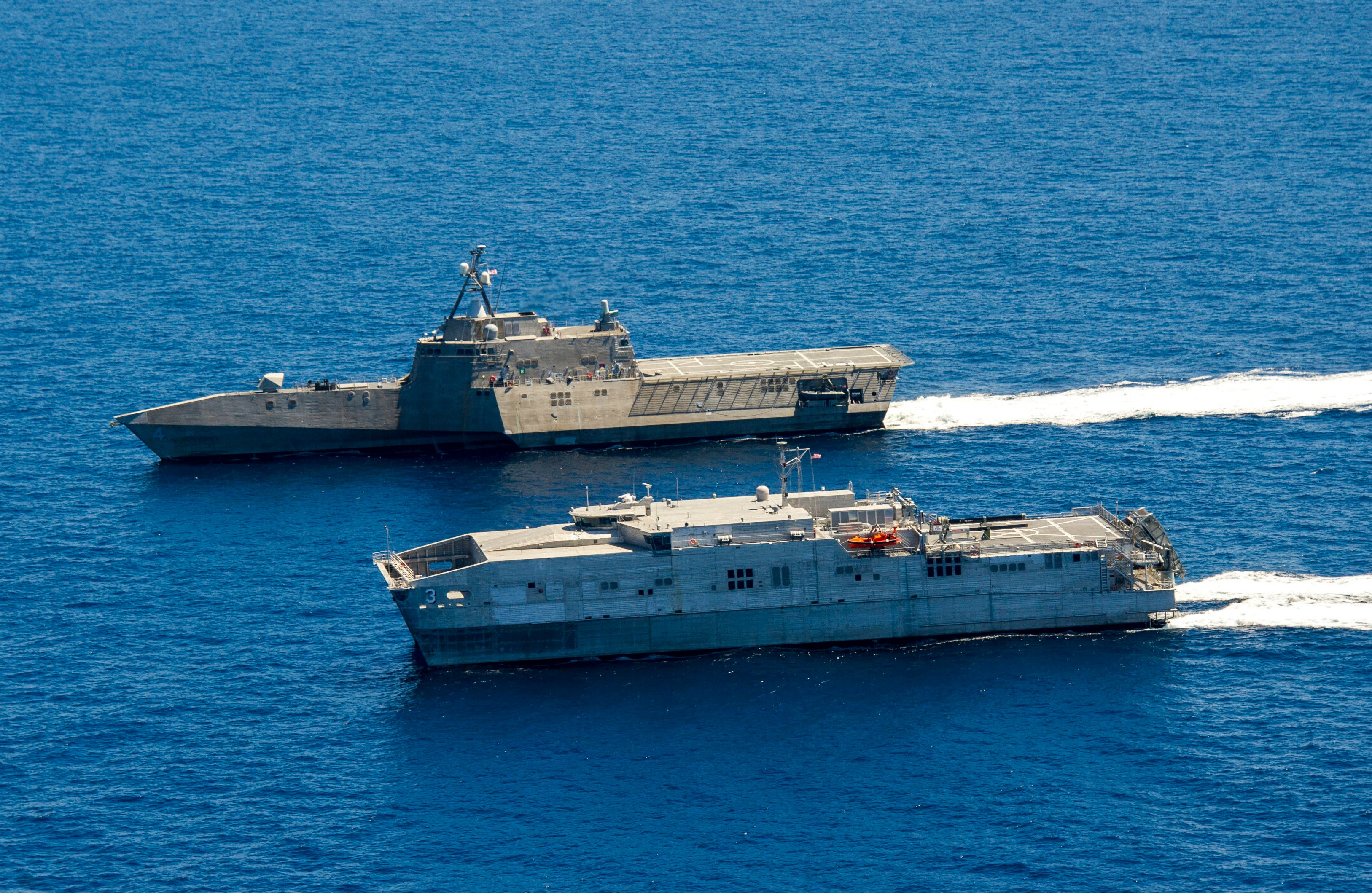 USS Coronado (LCS-4) and the joint high speed vessel USNS Millinocket (JHSV-3) on July 11, 2014. US Navy Photo