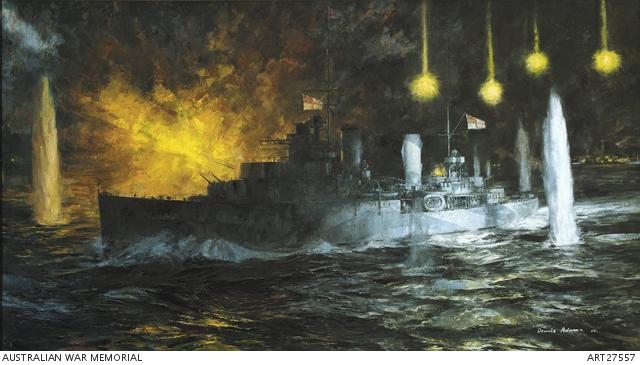 "Dennis Adams' painting ""HMAS Perth in the Battle of Sunda Strait."" Australian War Memorial"