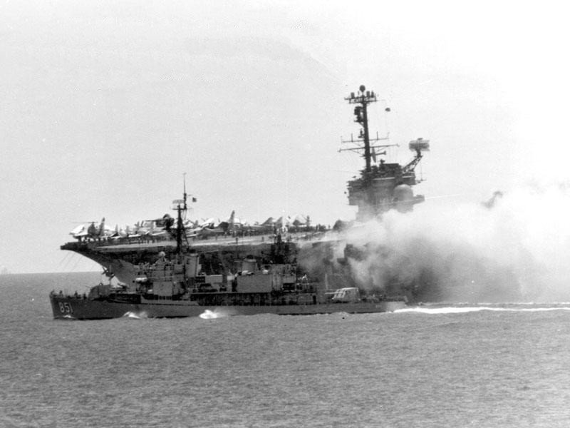 Fire on USS Forrestall June 29, 1967. US Navy Photo