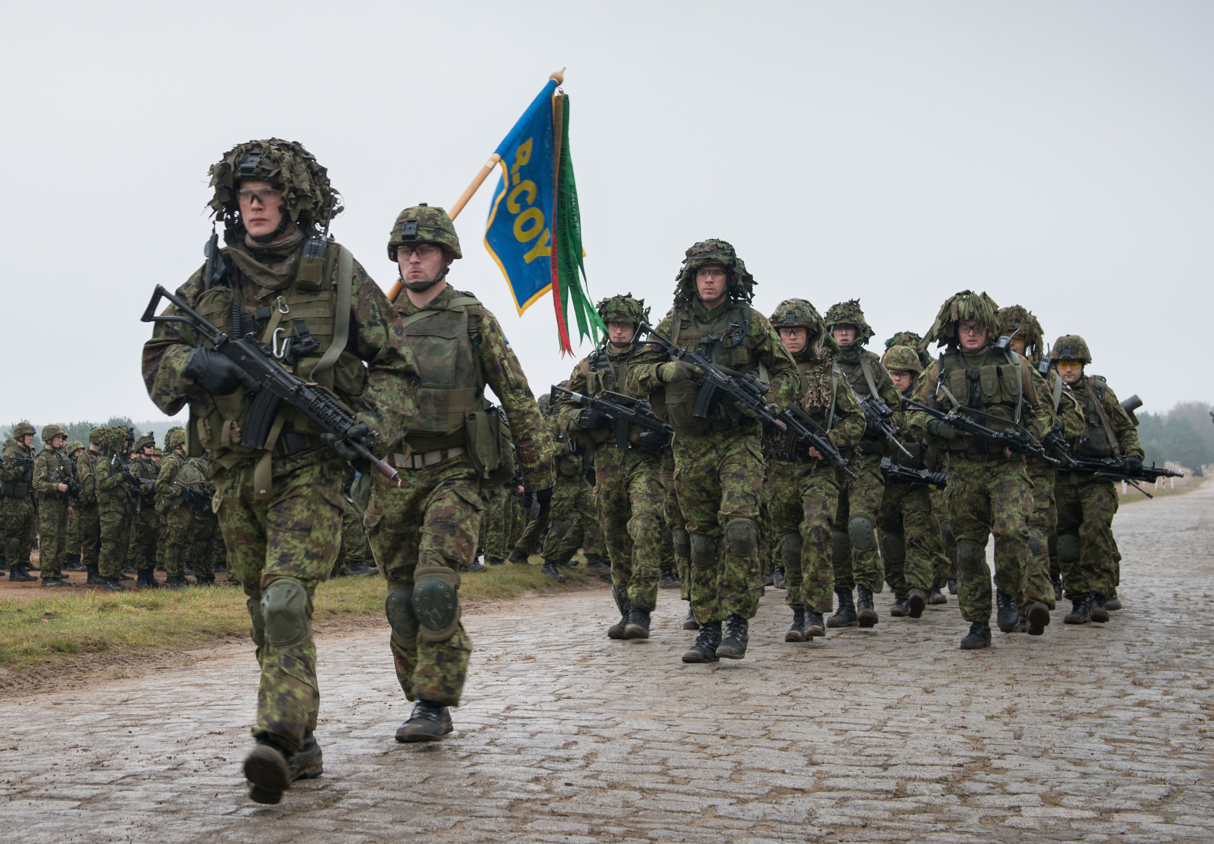 Estonian troops conduct a march past during the Opening Ceremony for Ex STEADFAST JAZZ on the Drawsko Pomorskie Training Area, Poland, on Nov. 3, 2013. NATO Photo