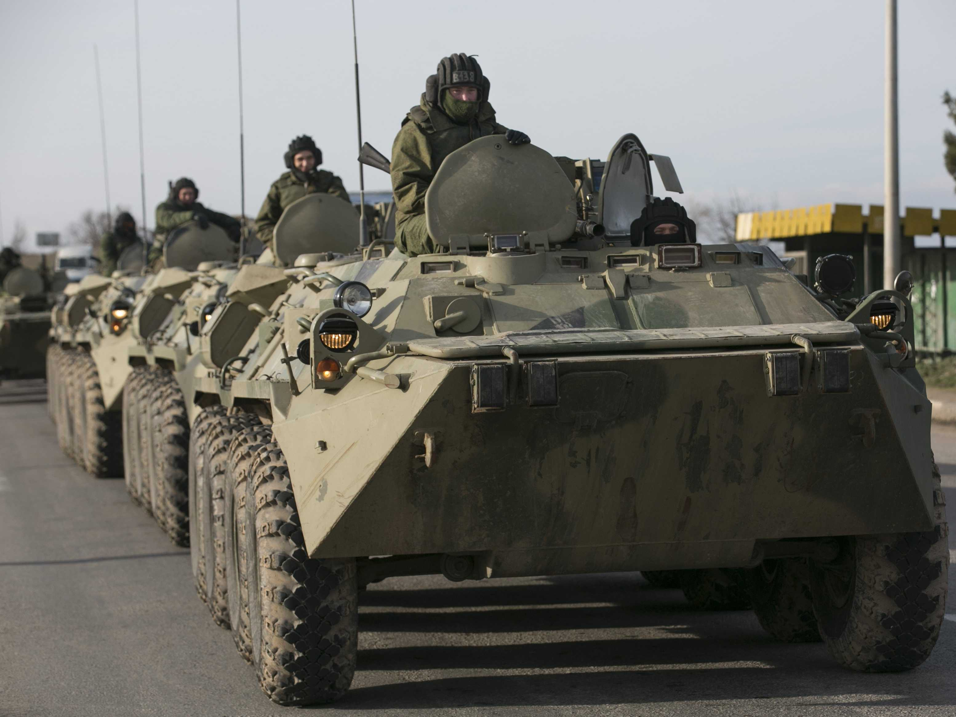 Russian troops in Crimea in March. REUTERS Photo