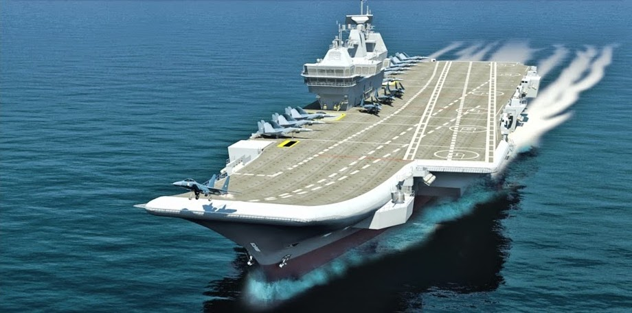 An artist's conception of INS Vikrant, India's first domestically-built carrier India is weighing constructing its second carrier with nuclear power. Indian Navy Image