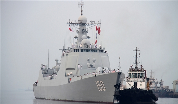PLAN ship Type 052C Luyang II destroyer Changchun enters the Iranian port of Bandar Abbas on Sept. 20, 2014. Fars News Agency