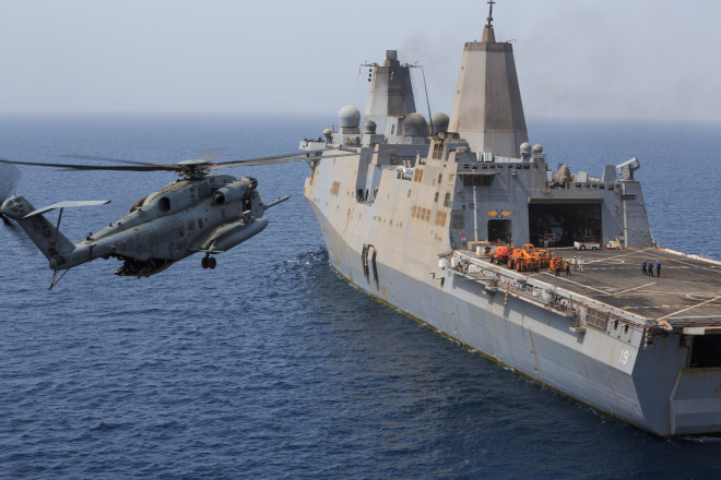 Marine CH-53 Crashes in Gulf of Aden, All Marines and Sailors Recovered Safely