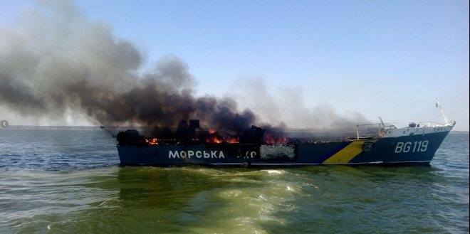 Two Ukrainian Patrol Boats Shelled by Artillery, One Sunk