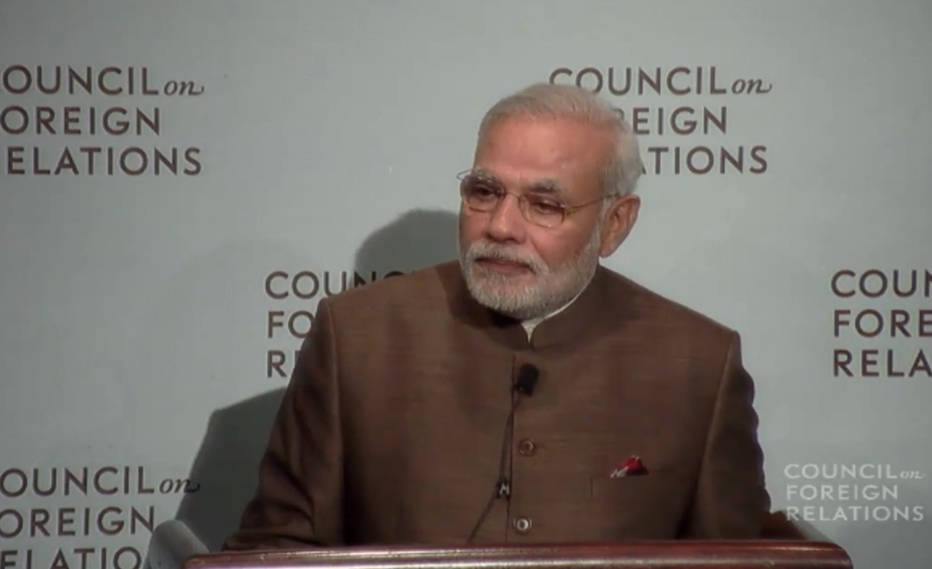 Indian Prime Minister Narendra Modi speaking at the Council of Foreign Relations on Sept. 29, 2014.