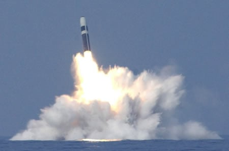 HMS Vanguard Launching a Trident II D5 missile in 2005.
