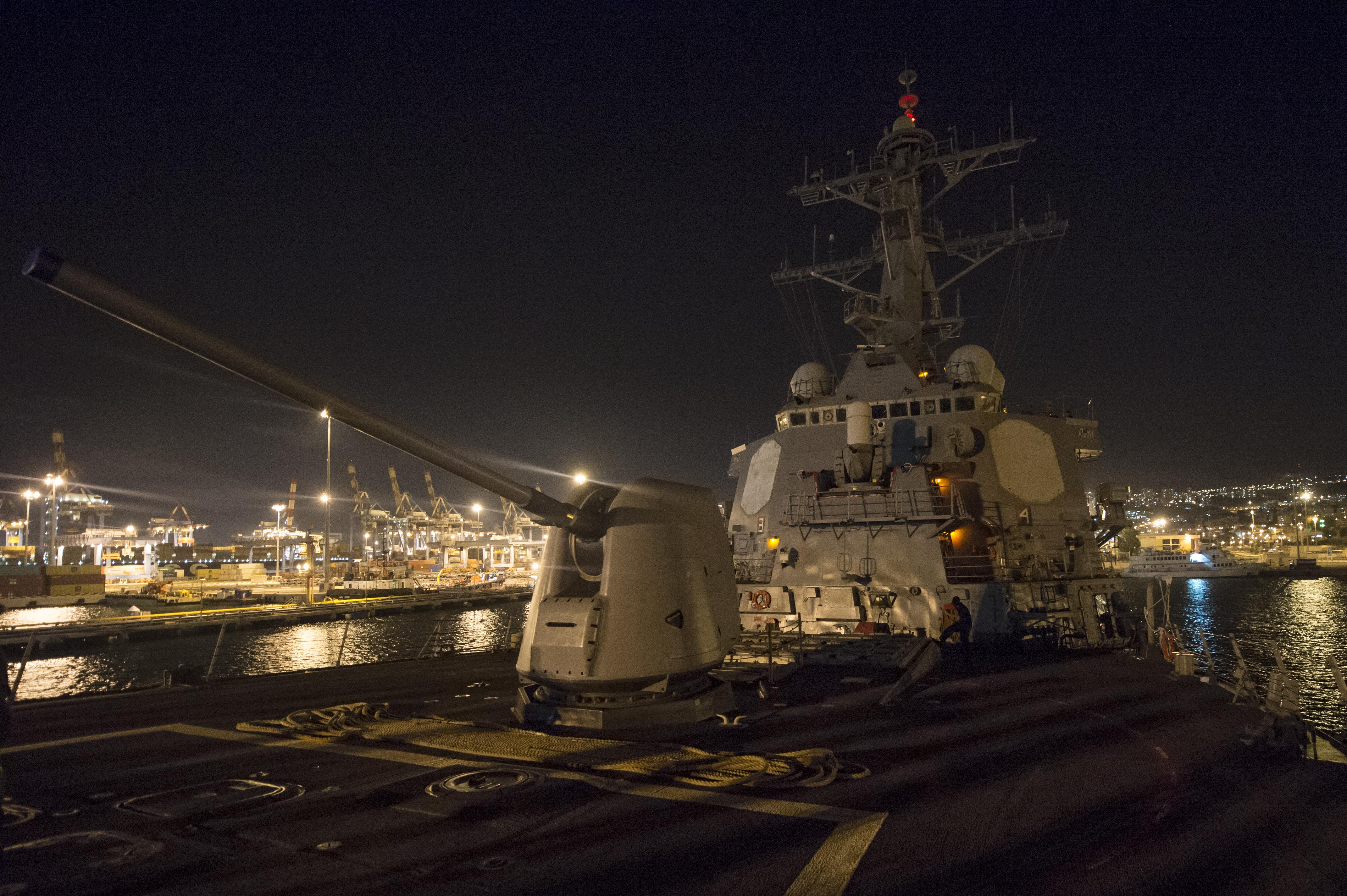 USS Cole (DDG 67) makes preparations for getting underway after a scheduled port visit to Haifa, Israel on Sept. 18, 2014. US Navy Photo