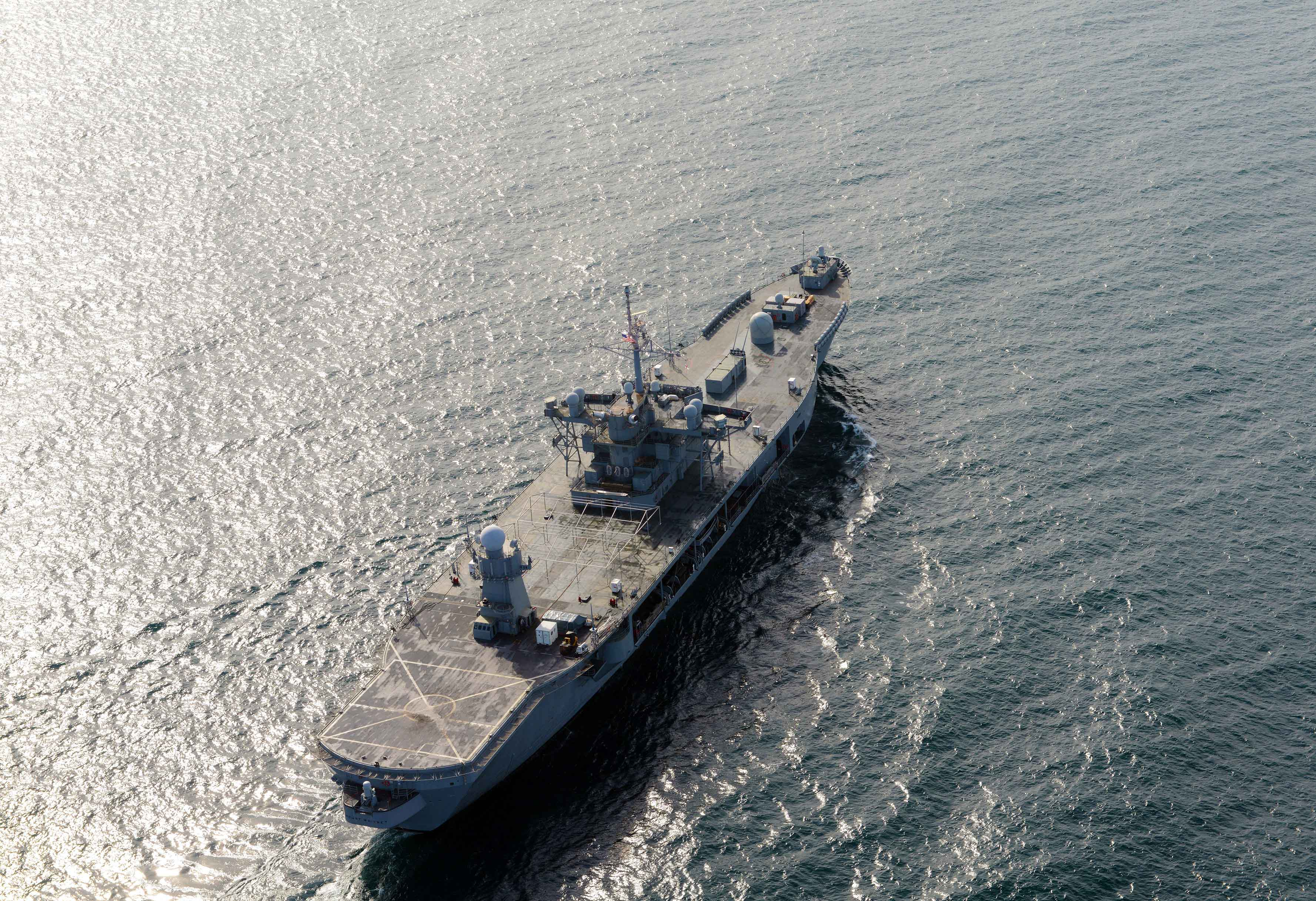 USS Mount Whitney (LCC-20) participates in a passing exercise with vessels from the Georgian coast guard in the Black Sea on Oct. 18, 2014. US Navy Photo