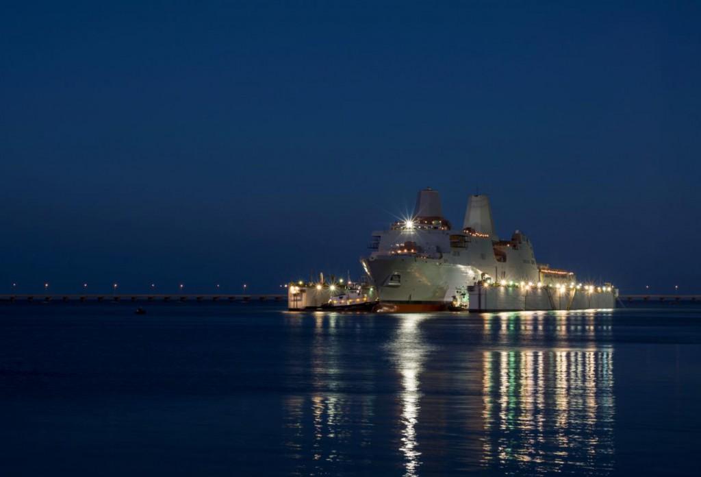 Amphibious warship John P. Murtha takes to the water on Oct. 30, 2014. HII Photo