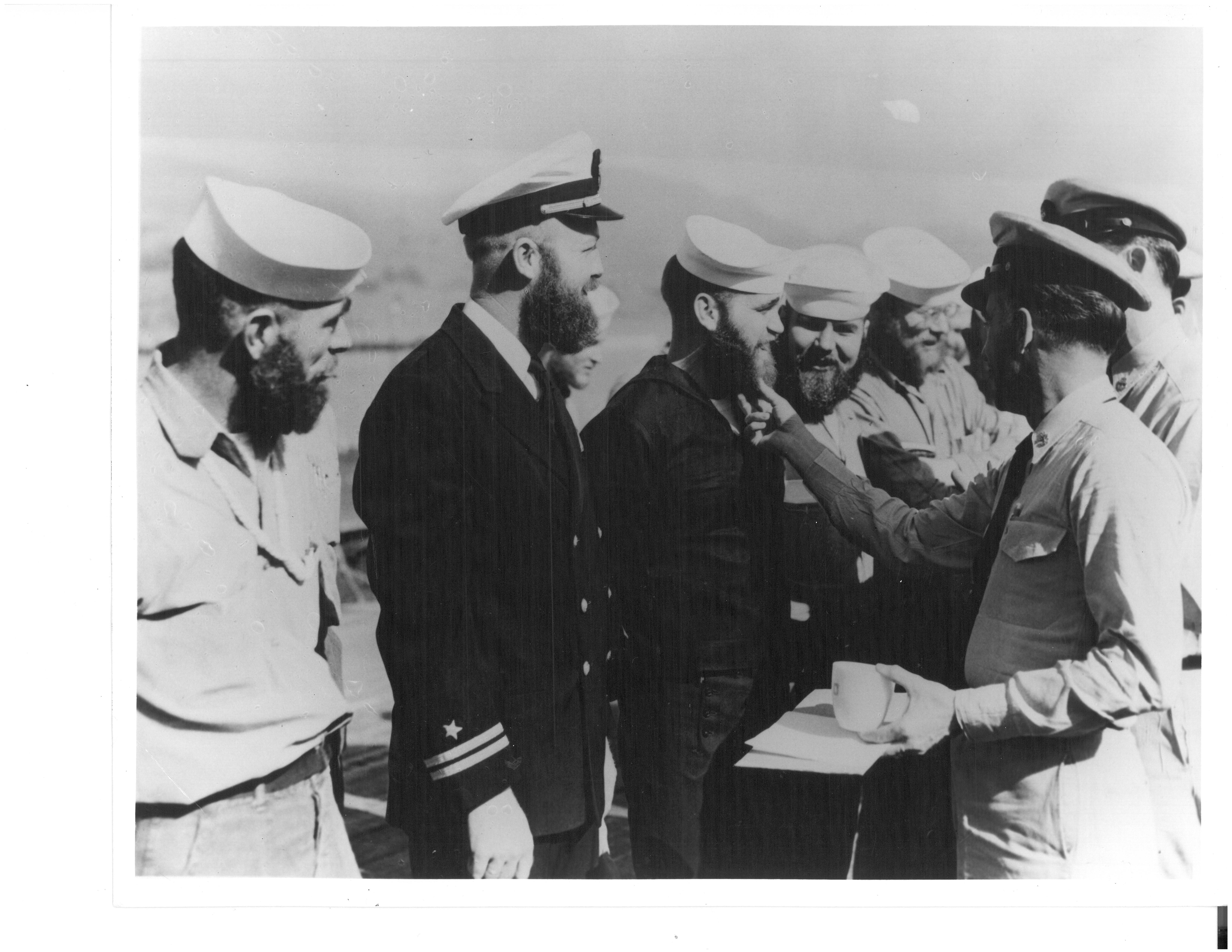 Beard growing contest onboard the USS Staten Island