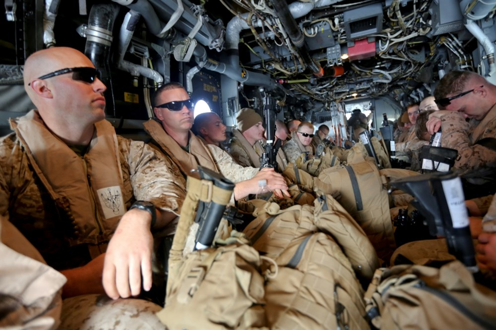 U.S. Marines with Special-Purpose Marine Air-Ground Task Force Crisis Response board an MV-22B tiltrotor Osprey travelling to Tifnit Military Instillation, Morocco, April 3, 2014. AFRICOM Photo