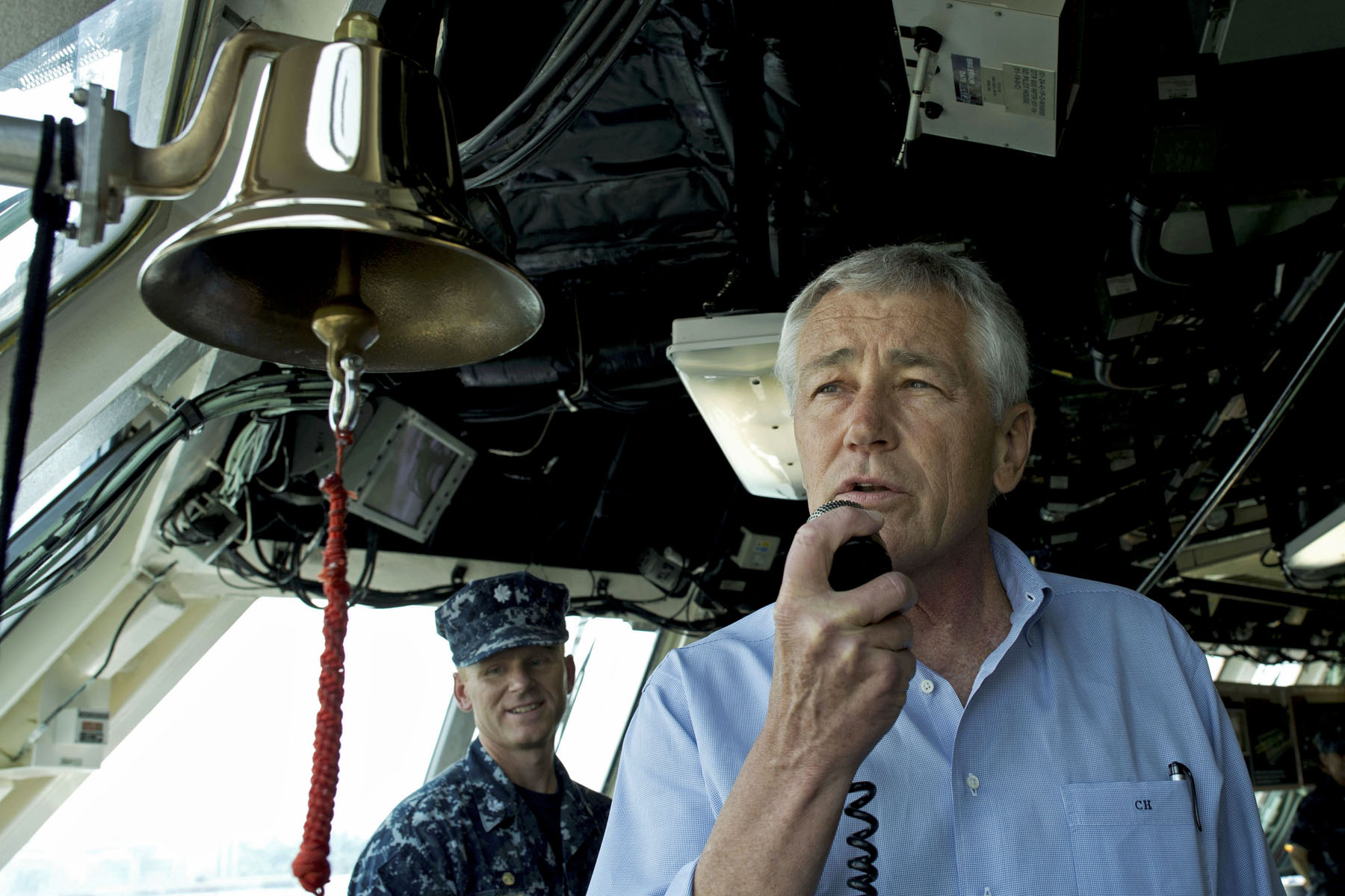 Secretary of Defense Chuck Hagel addresses the crew of the littoral combat ship USS Freedom (LCS-1) in Singapore on June 2, 2013. US Navy Photo