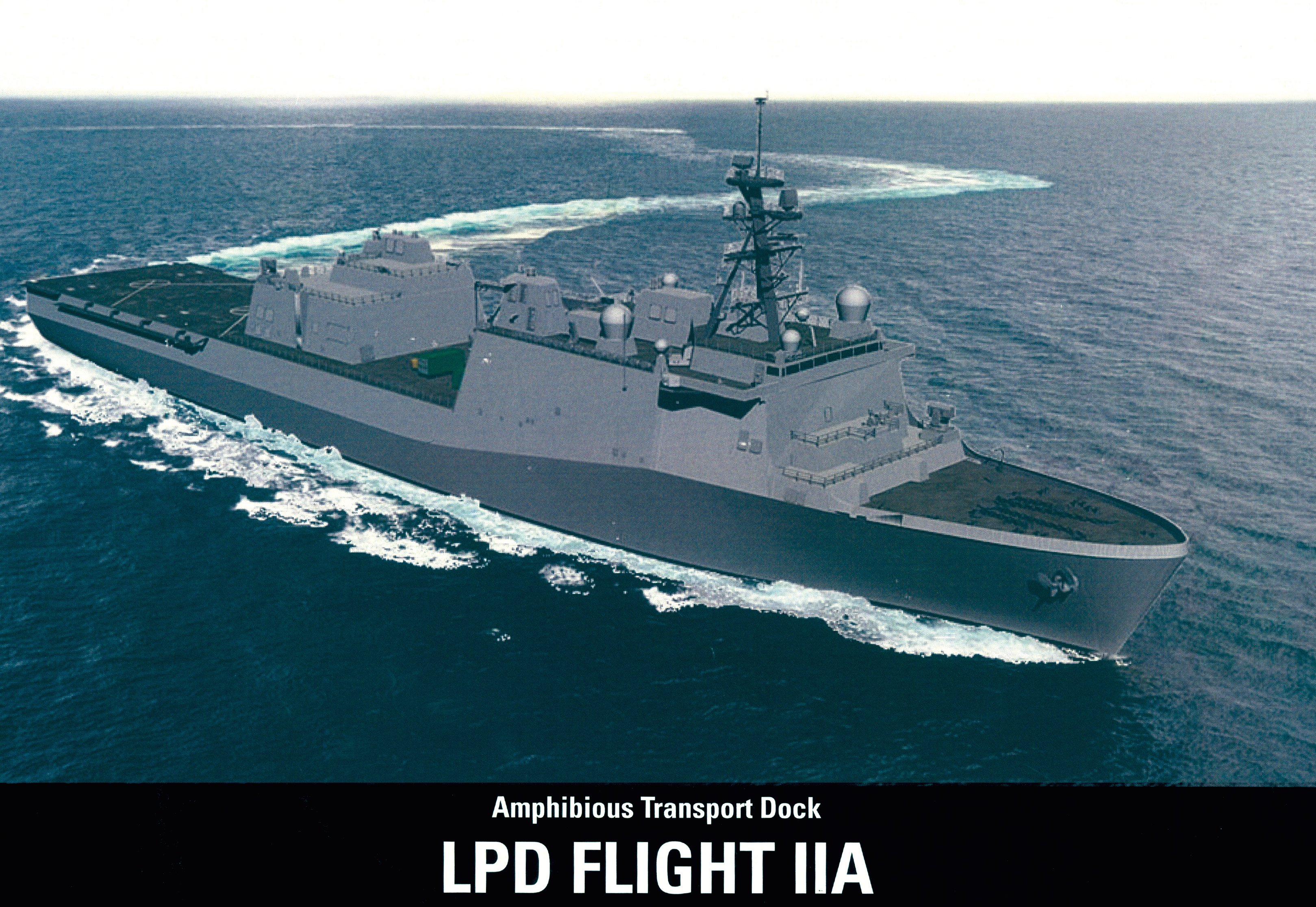 An artist's rendering of Huntington Ingalls Industries' LPD Flight IIA variant of the San Antonio-class ship design. HII Image