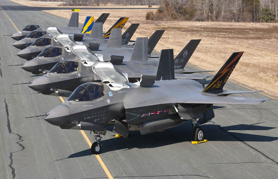 An undated picture of five F-35B and a single F-35C. Lockheed Martin Photo