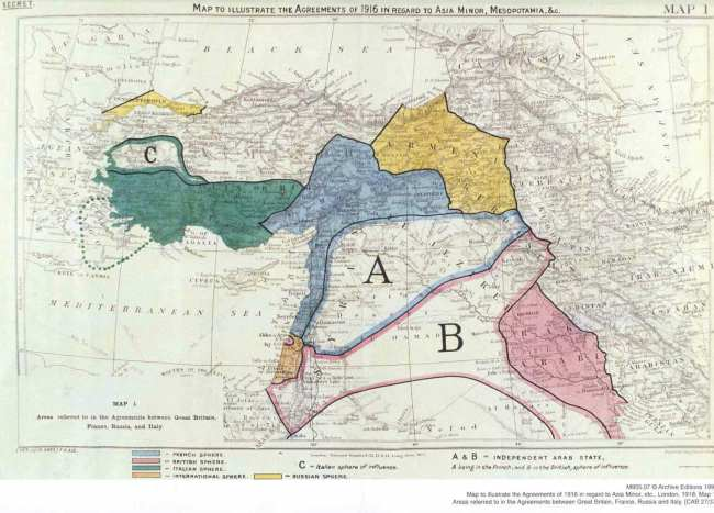A map of map of the Sykes–Picot Agreement showing Eastern Turkey in Asia, Syria and Western Persia, and areas of control and influence agreed between the British and the French. Via Wikipedia