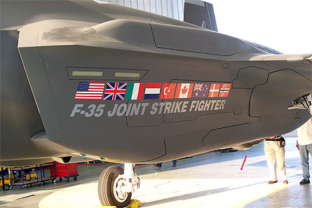 A F-35 emblazoned with the flags of countries in the program.