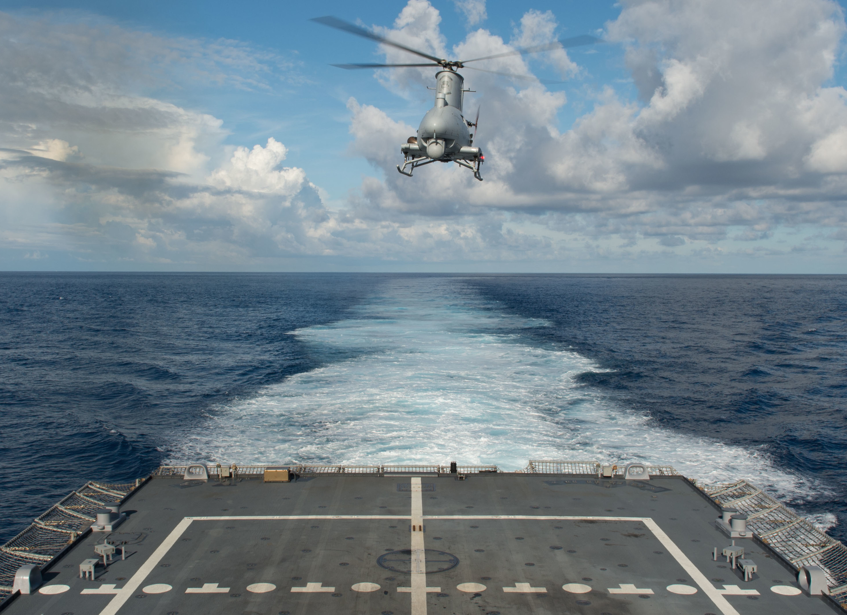 An MQ-8B Fire Scout unmanned aircraft system from the Magicians of Helicopter Maritime Strike Squadron (HSM) 35 lifts off the flight deck of the littoral combat ship USS Fort Worth (LCS-3) on Dec. 17, 2014.