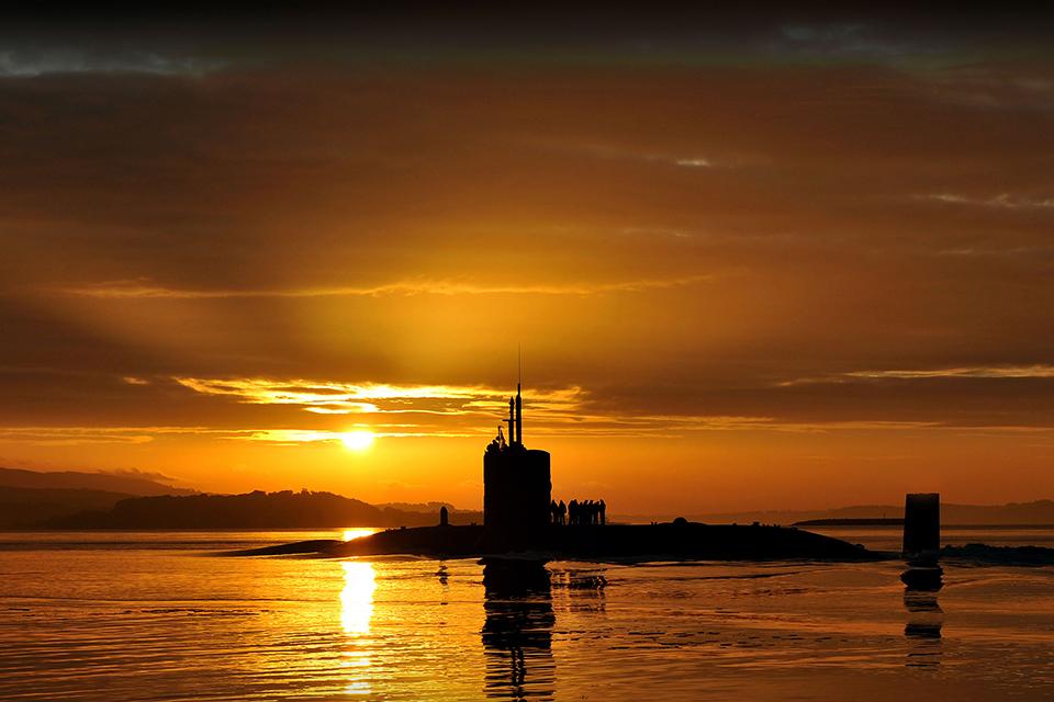 Trafalgar-class attack submarine HMS Triumph, glides into HM Naval Base Clyde. Royal Navy Photo