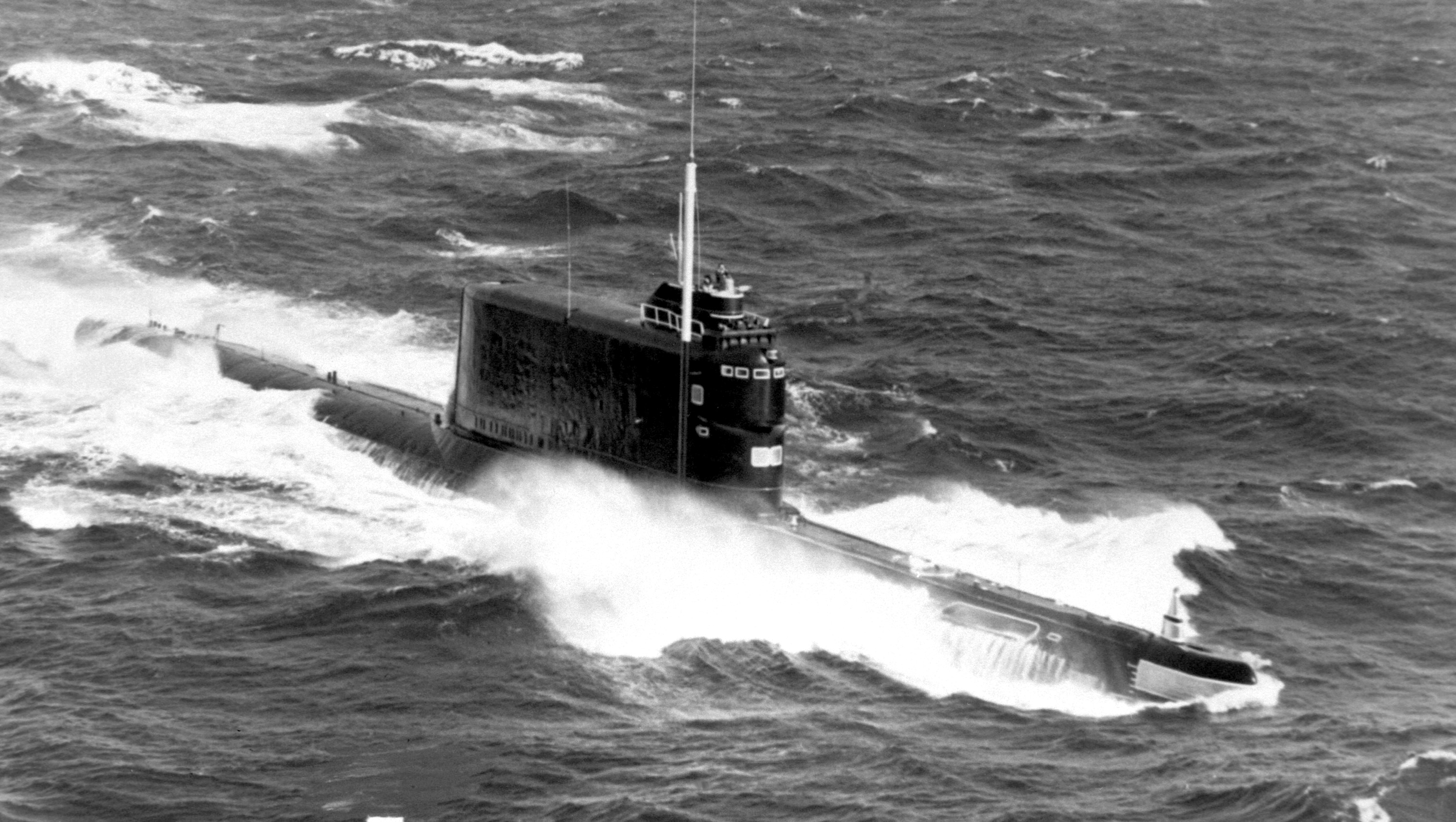 A Soviet Golf II class ballistic missile submarine underway in 1985. North Korea is reportedly building its own sea-based nuclear deterrent based on the Golf II design. DoD Photo
