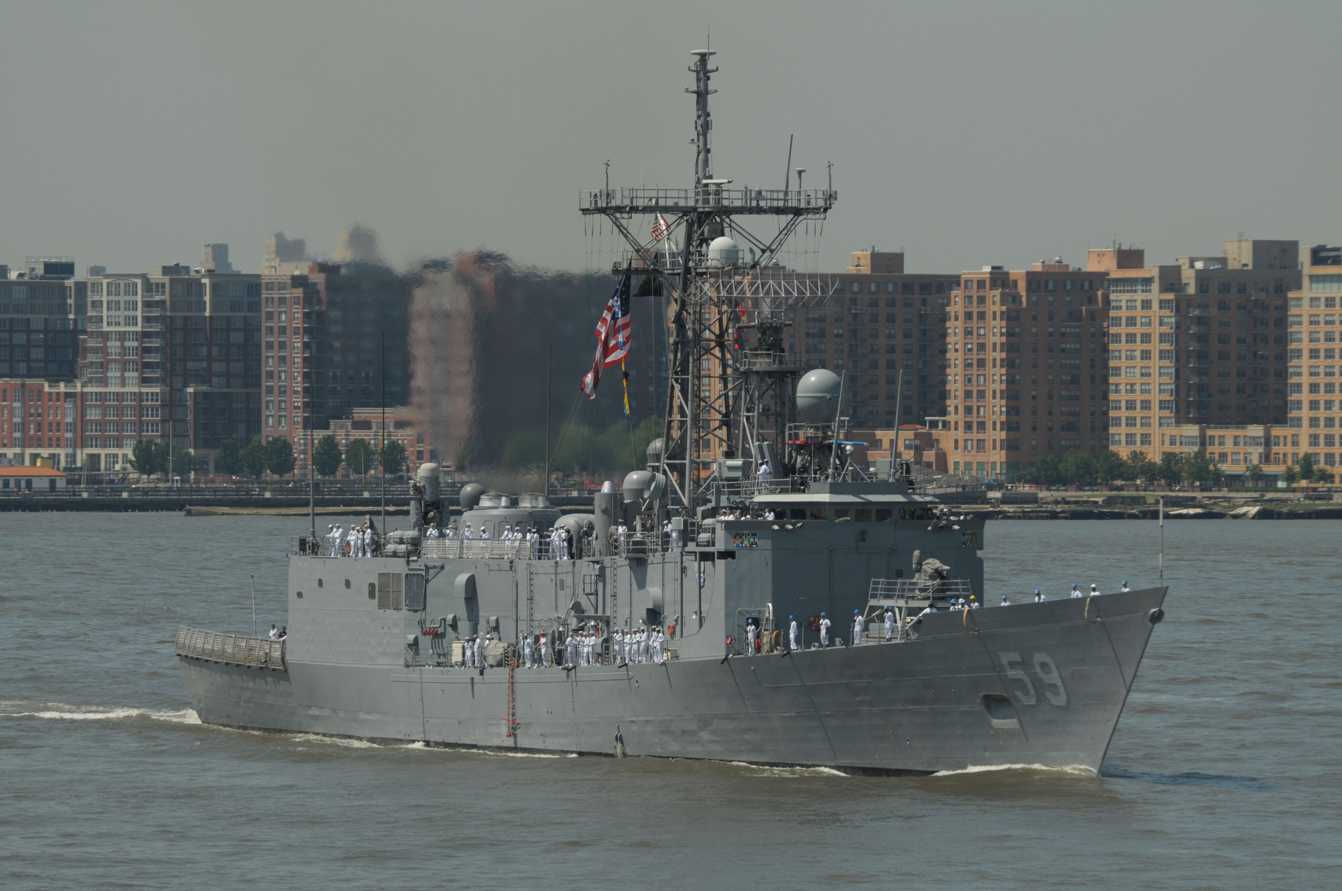 USS Kauffman (FFG-59) transits the Hudson River during Fleet Week 2011. US Navy Photo