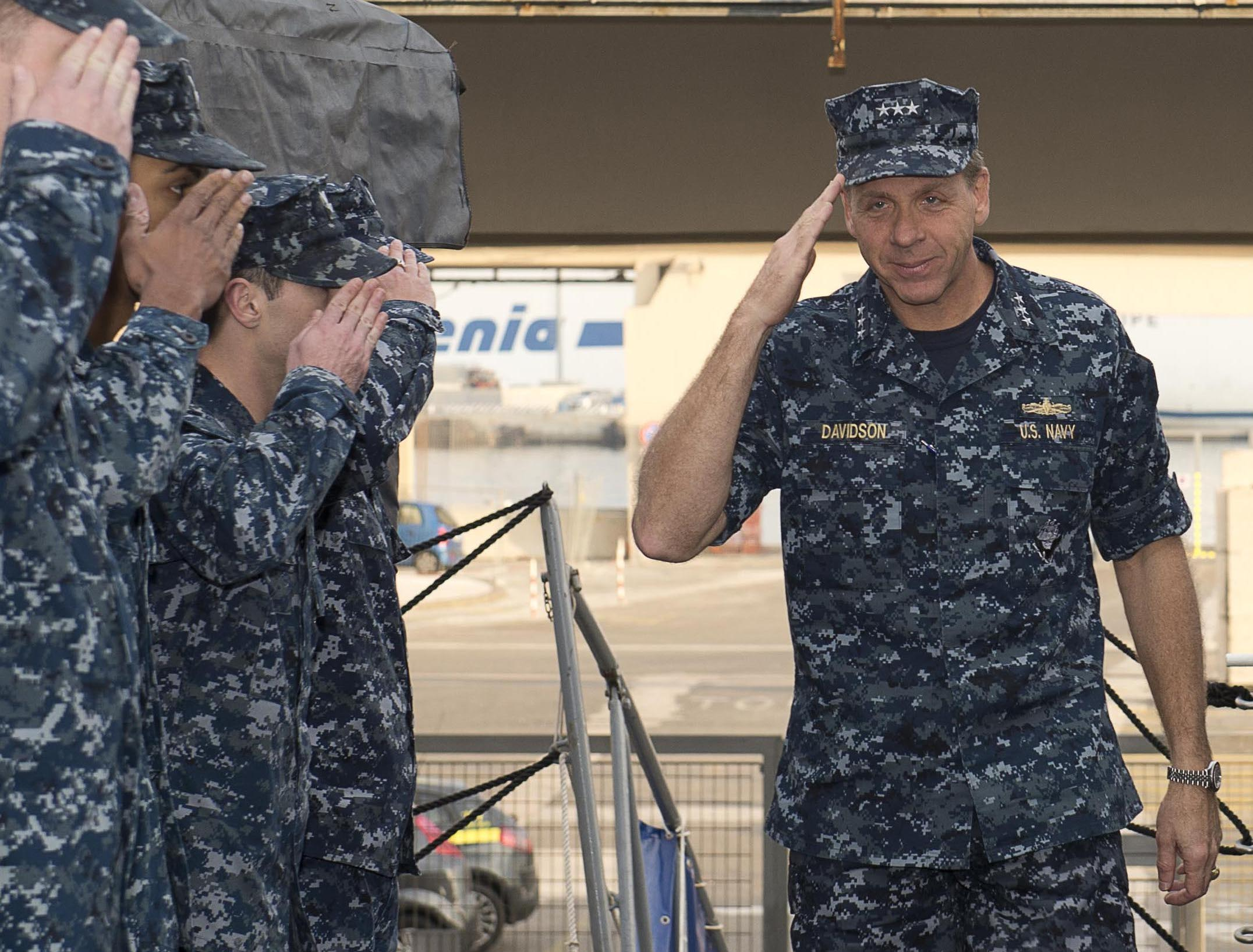 Then Vice Adm. Phil Davidson as commander of U.S. 6th Fleet on a USS Nitze (DDG-94) on Dec. 23, 2013. US Navy Photo