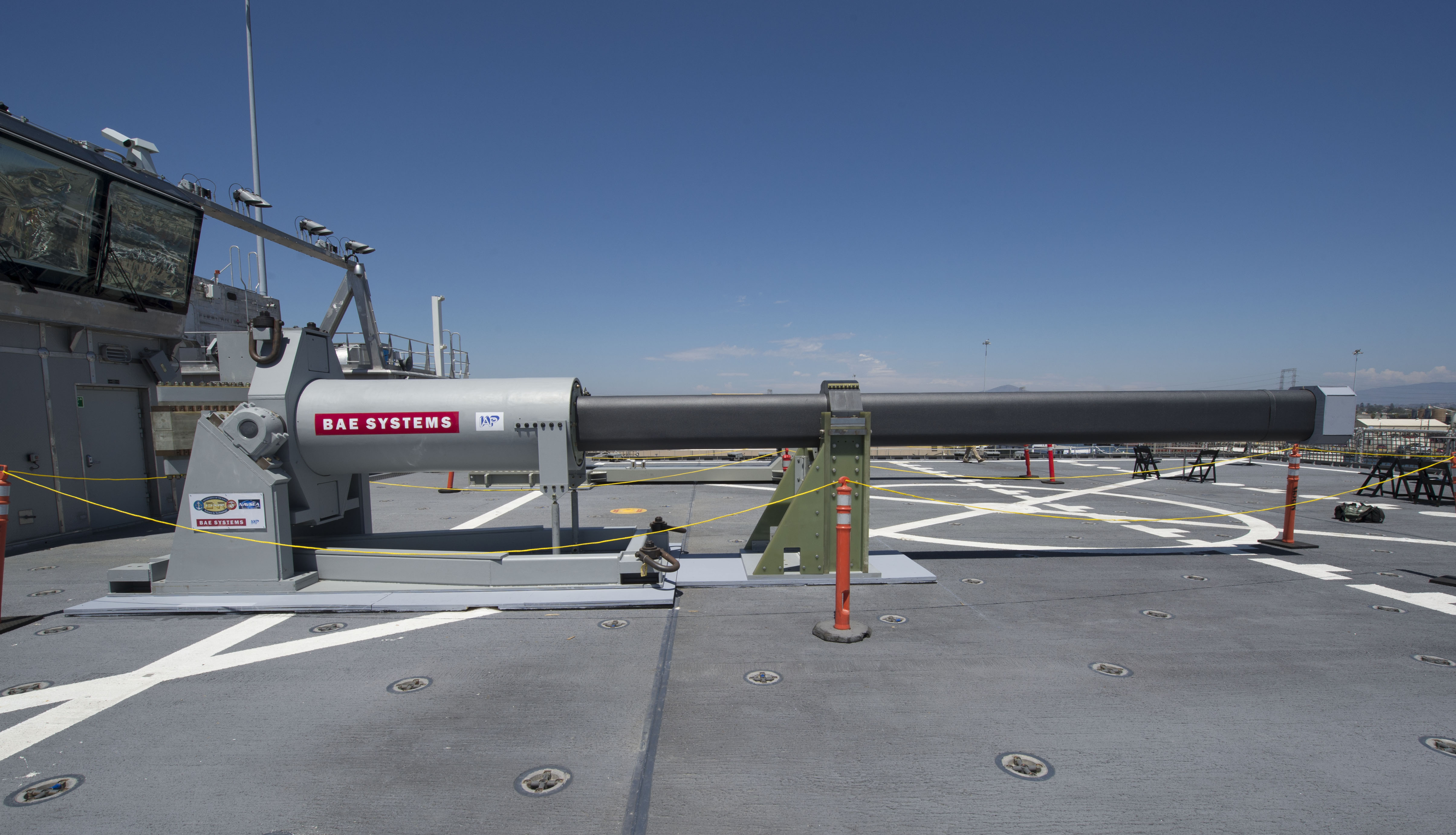 One of the two electromagnetic railgun prototypes on display aboard the joint high speed vessel USS Millinocket (JHSV 3) in port at Naval Station San Diego, Calif. US Navy Photo
