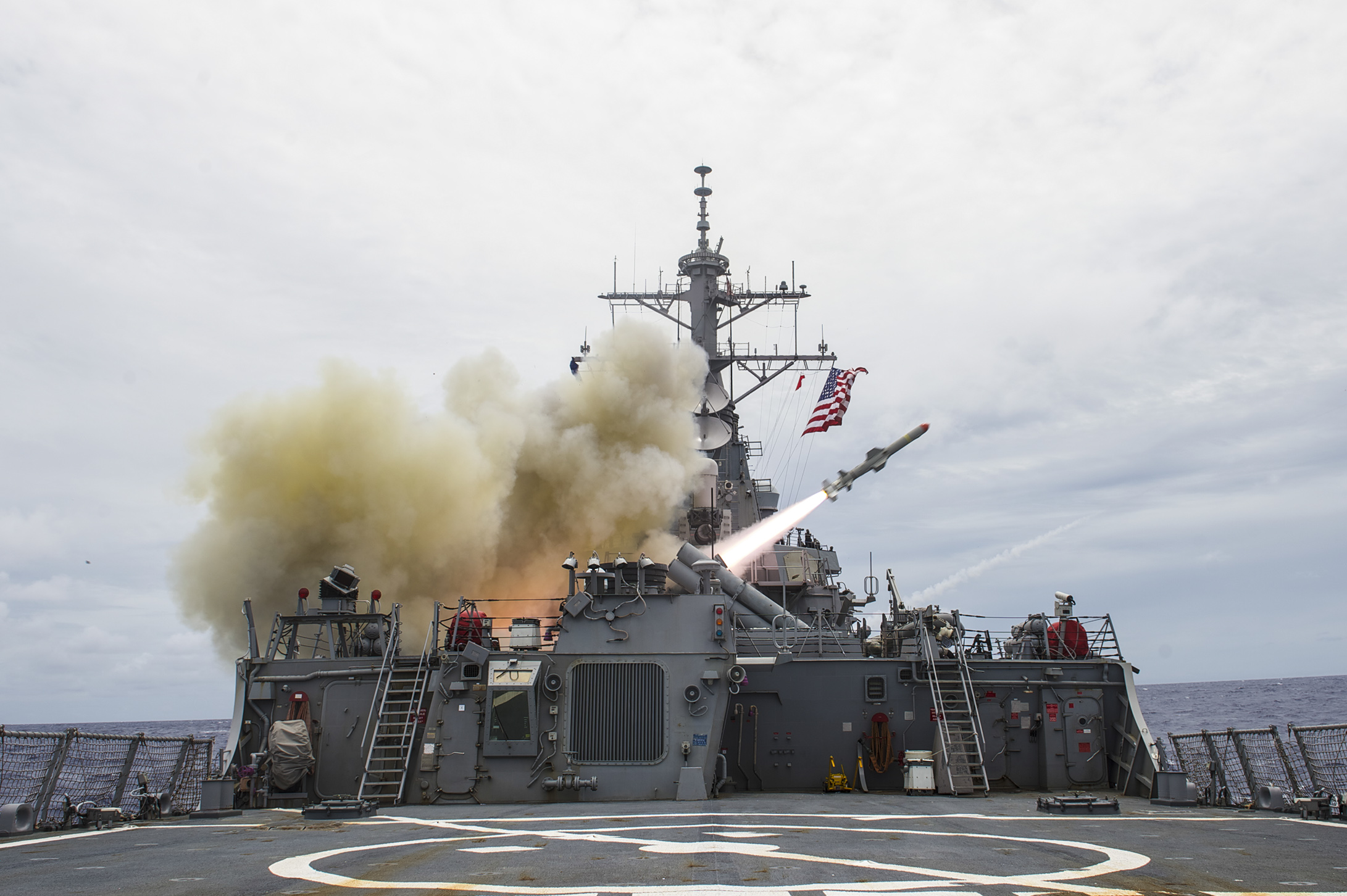 USS Stethem (DDG-63) fires a Harpoon missile during a sinking exercise as part of Valiant Shield 2014 on Sept. 15, 2014. US Navy Photo