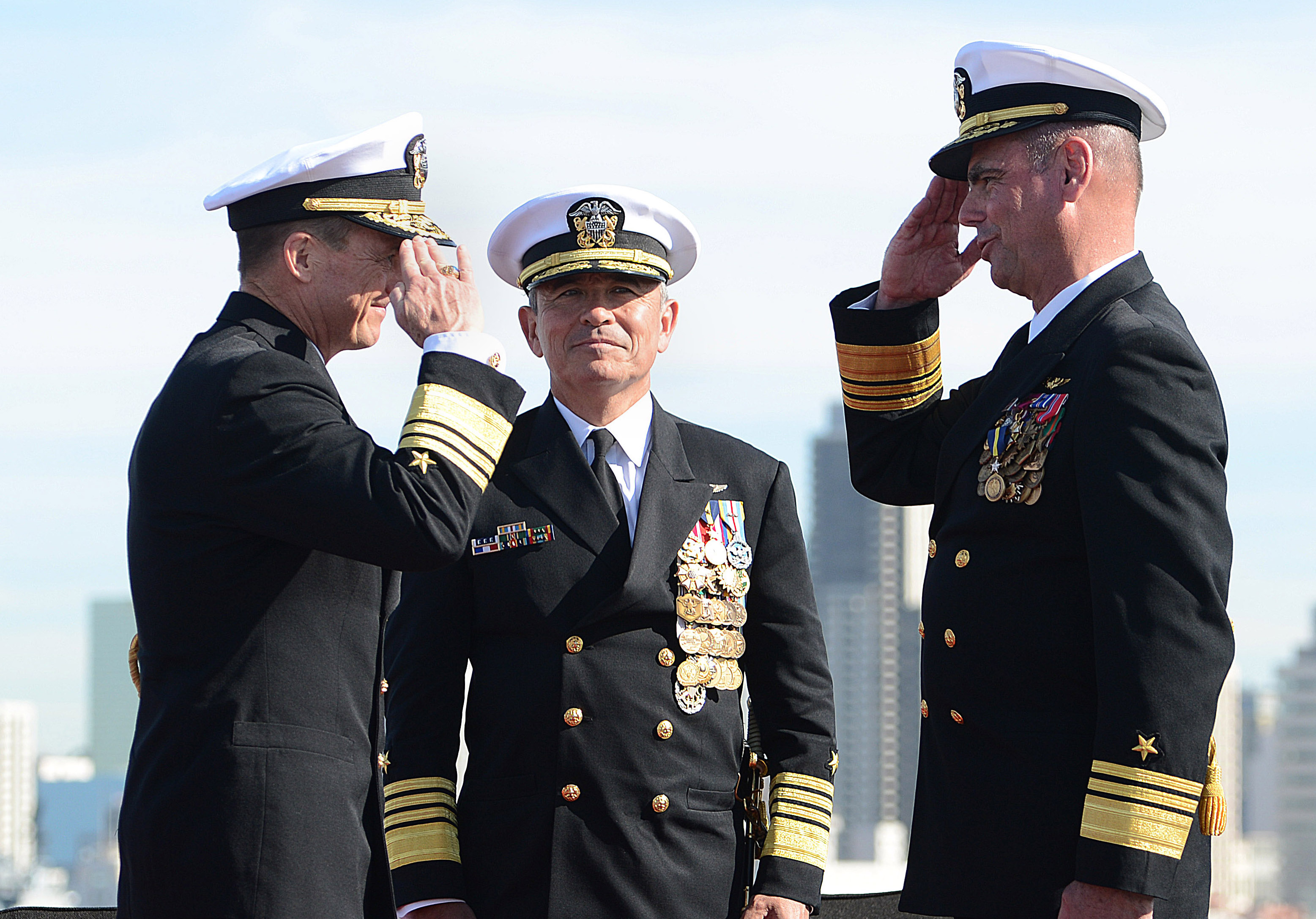 Commander Naval Air Forces conducts a change of command and retirement ceremony aboard USS John C. Stennis (CVN-74). During the ceremony, Vice Adm. Mike Shoemaker relieved Vice Adm. David H. Buss.