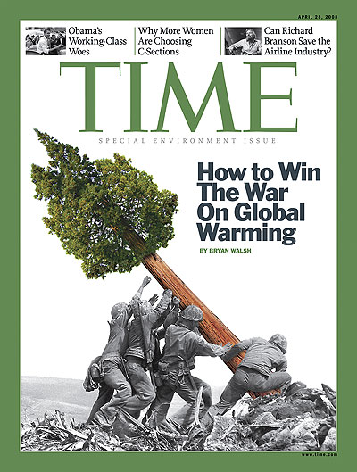 "The 2008 Time magazine issue on global warming caused a furor when Iwo Jima veterans objected to the alteration of the original photo, calling it ""an absolute disgrace"""
