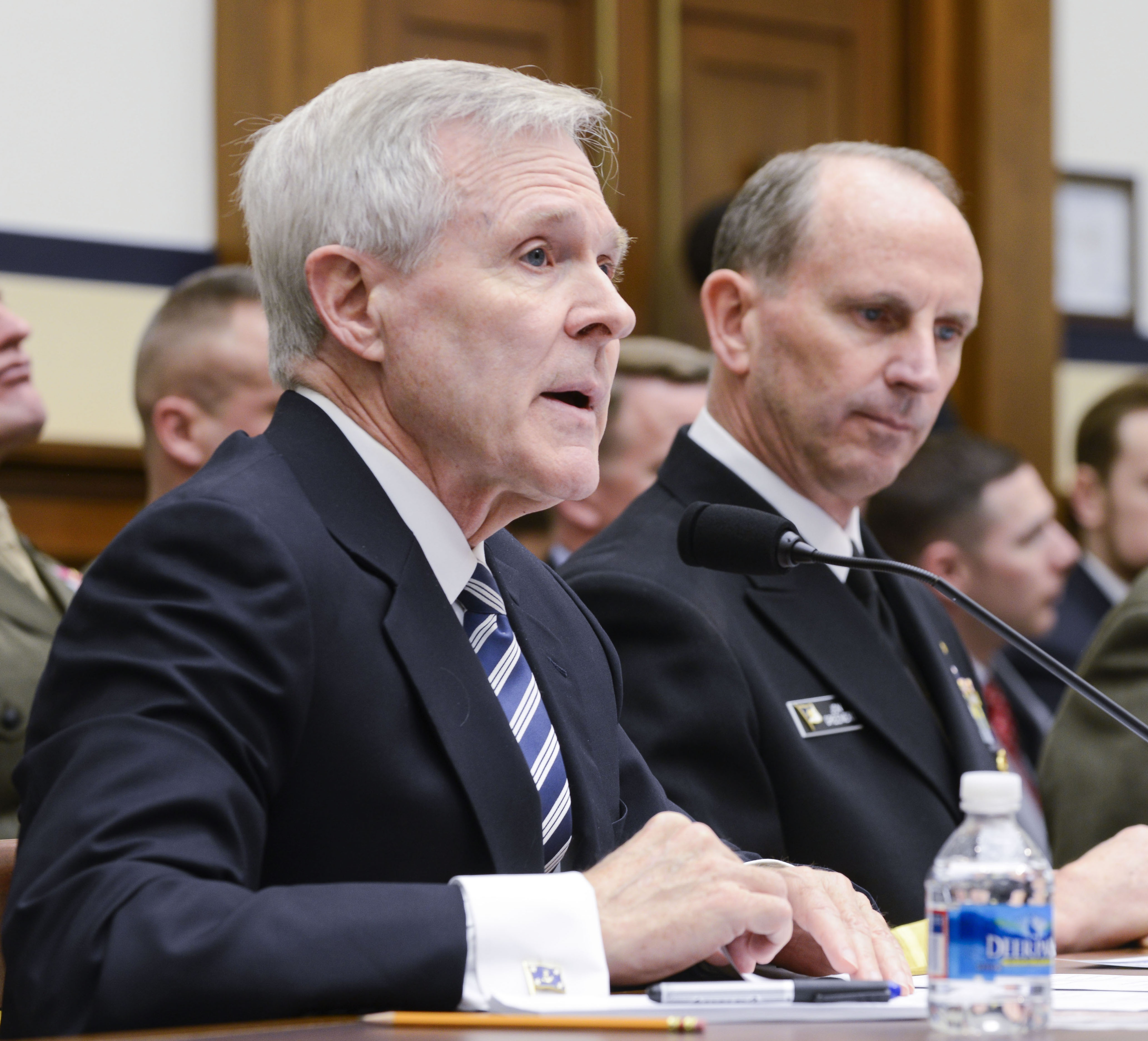 Secretary of the Navy (SECNAV) Ray Mabus, left, Chief of Naval Operations (CNO) Adm. Jonathan Greenert testify before the House Armed Services Committee (HASC) in March 2014. US Navy Photo