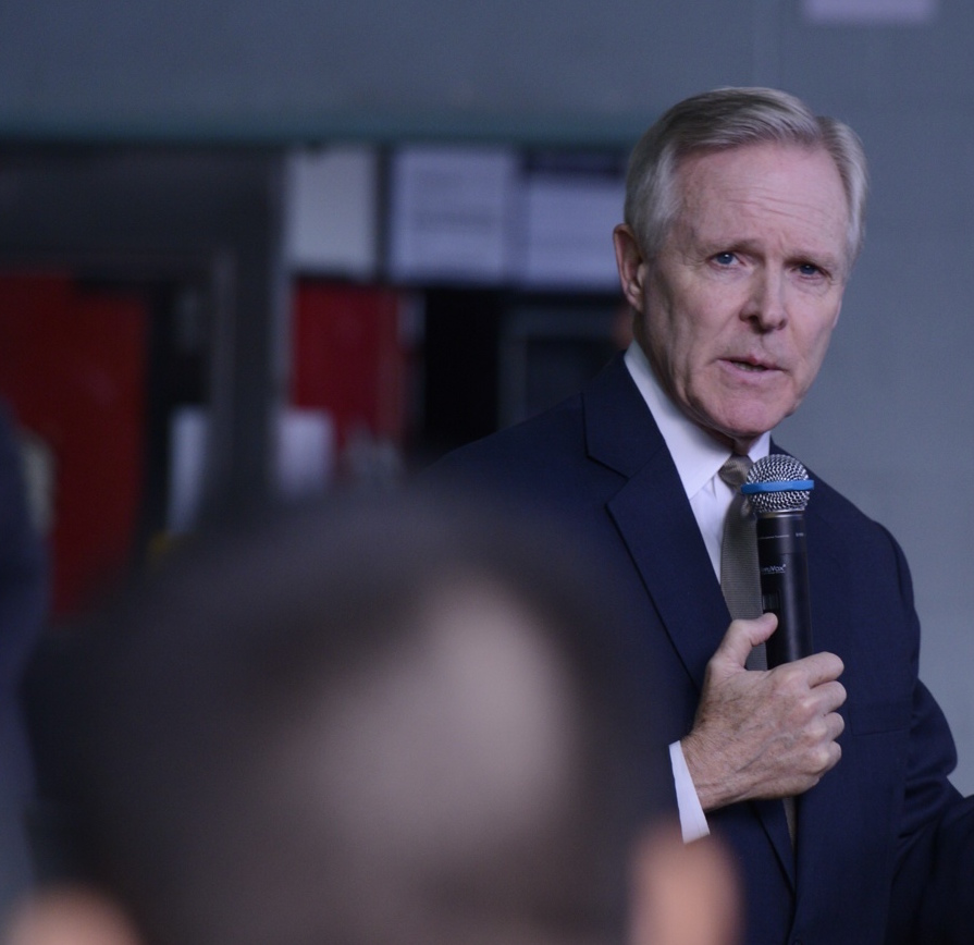 Secretary of the Navy Ray Mabus speaks with Sailors and Marines assigned to US Forces Korea on Dec. 9, 2014. US Navy Photo