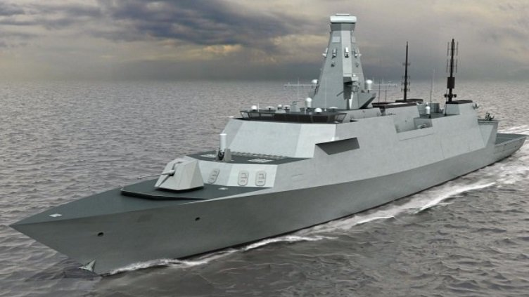 An artist's rendering of the planned Royal Navy Type 26 Global Combat Ship. UK MoD Image