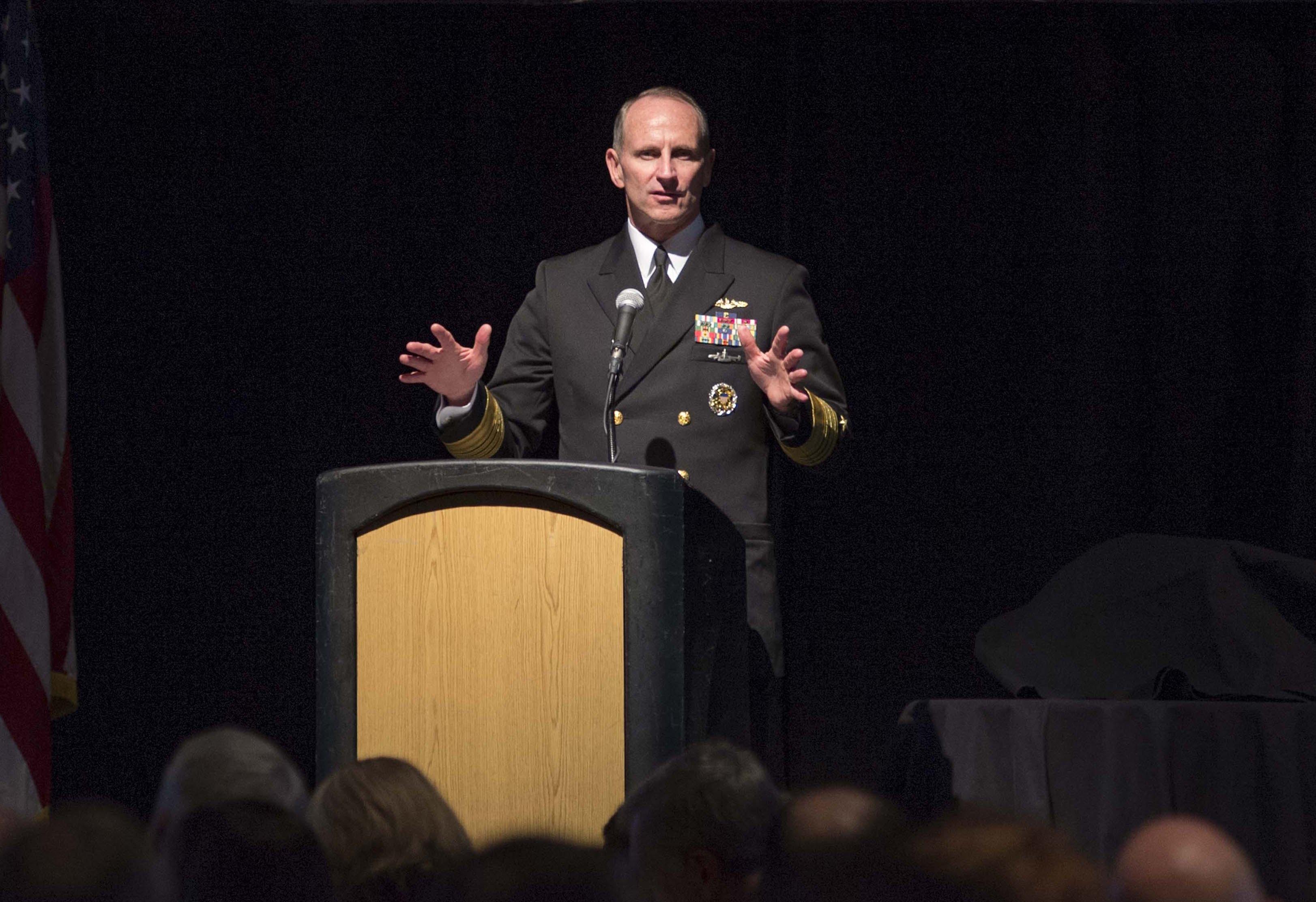 Chief of Naval Operations (CNO) Adm. Jonathan Greenert speaks at the Annual Hampton Roads Navy League Dinner on Jan. 28, 2015.