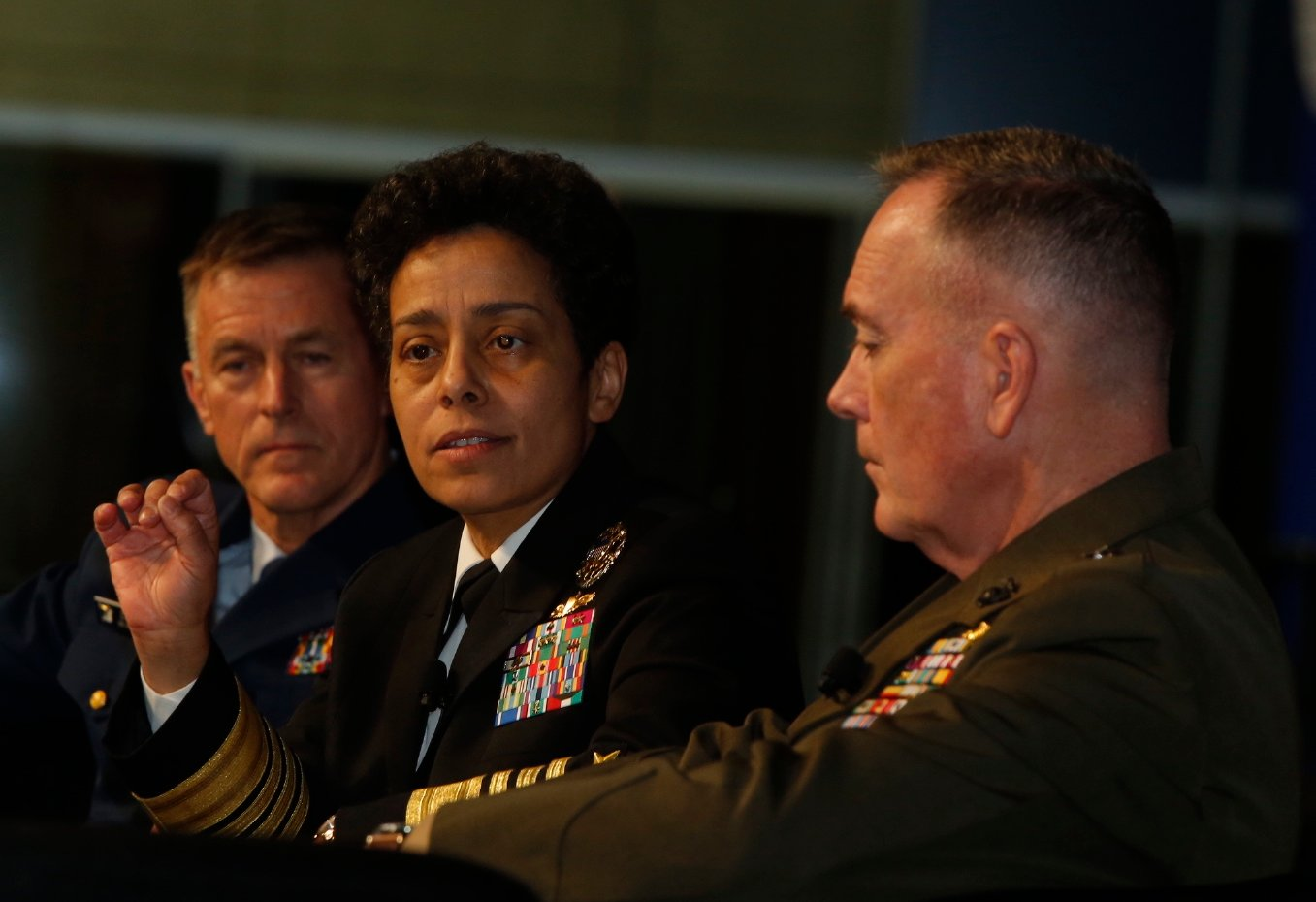 Coast Guard commandant Adm. Paul Zukunft, Vice Chief of Naval Operations Michelle Howard and Marine Corps commandant Gen. Joseph Dunford on Feb. 12, 2015. US Naval Institute Photo