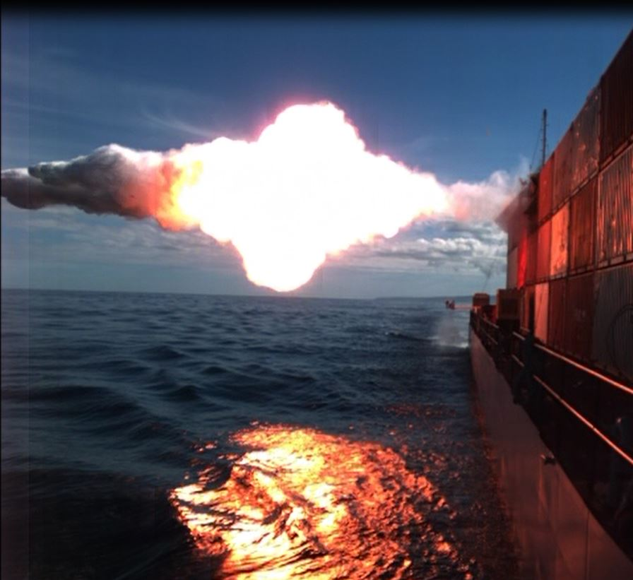 A Tomahawk cruise missile hits a moving maritime target Jan. 27 after being launched from the USS Kidd (DDG-100) near San Nicolas Island in California. US Navy Photo