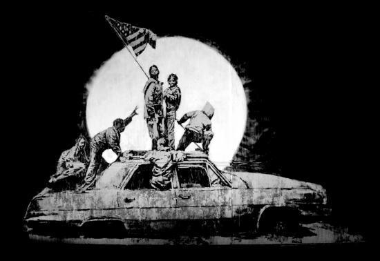 Work of the graffiti artist Banksy