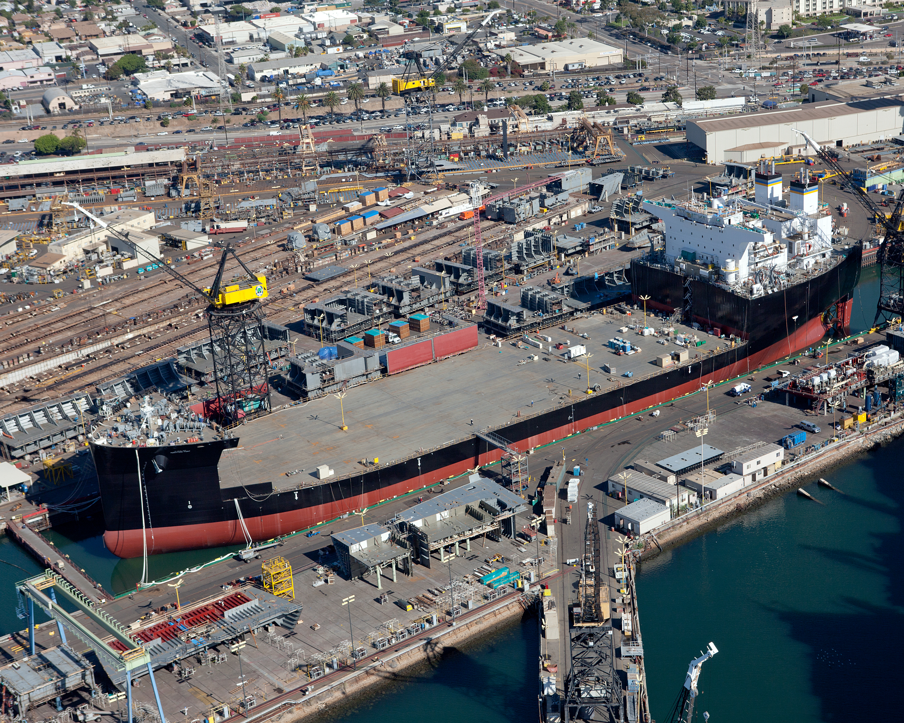 The first Mobile Landing Platform at the General Dynamics NASSCO shipyard in San Diego, Calif. NASSCO Photo