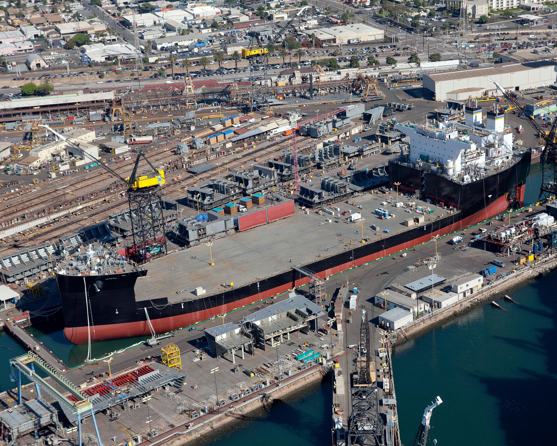 The first Mobile Landing Platform at the General Dynamics NASSCO shipyard in San Diego, Calif. NASSCO Photo