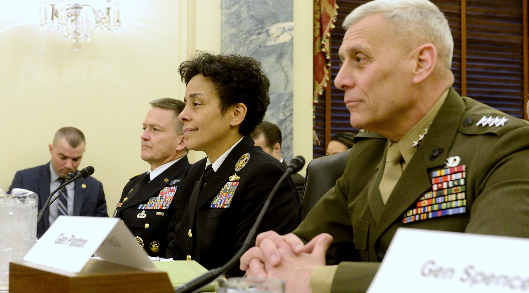 Vice Chief of Naval Operations Adm. Michelle Howard and Assistant Commandant of the Marine Corps Gen. John Paxton testified at the Senate Armed Services Committee on Wednesday, March 25 and the House Armed Services Committee on Thursday, March 26 to discuss the readiness of the force. US Navy photo.
