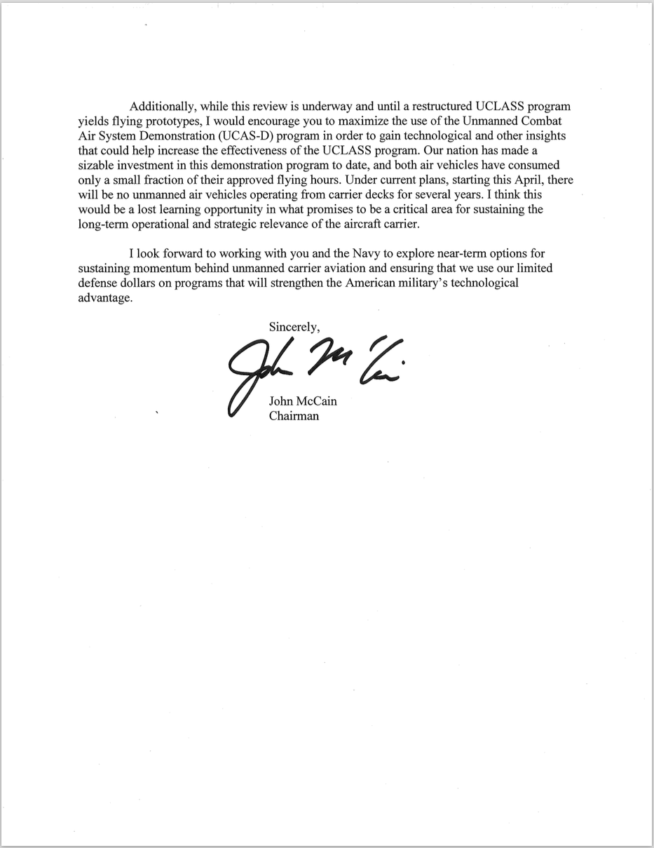 Document Mccain Letter To Secdef Carter On Uclass  Usni News