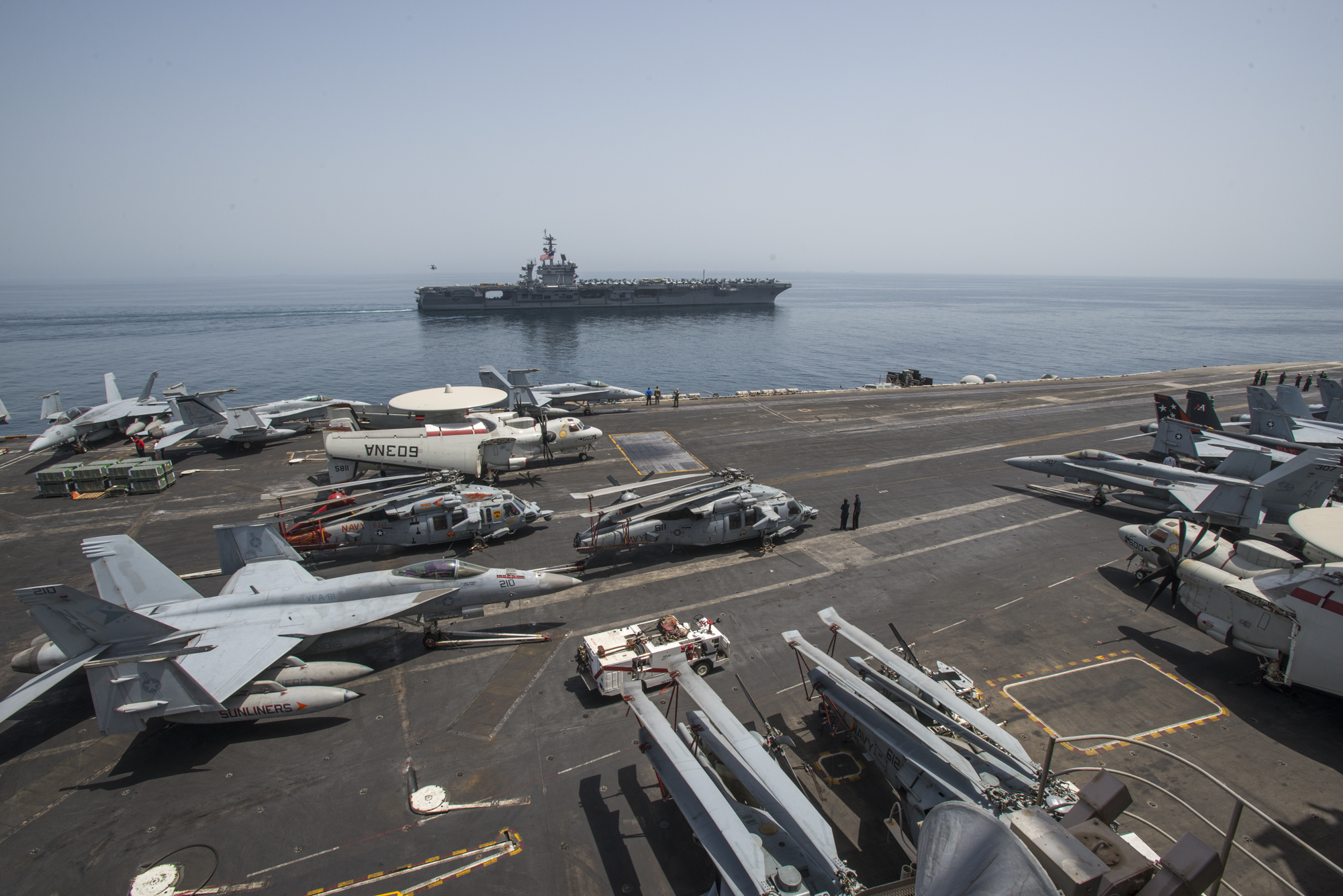 USS Theodore Roosevelt (CVN-71) relieves the aircraft carrier USS Carl Vinson (CVN-70) in the Gulf of Oman. US Navy Photo