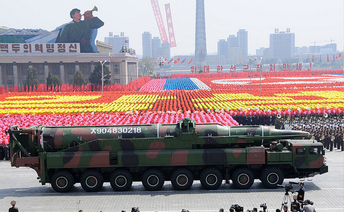 A mockup of a KN-08 ICBM in a parade in Pyongyang in 2012 or 2013.