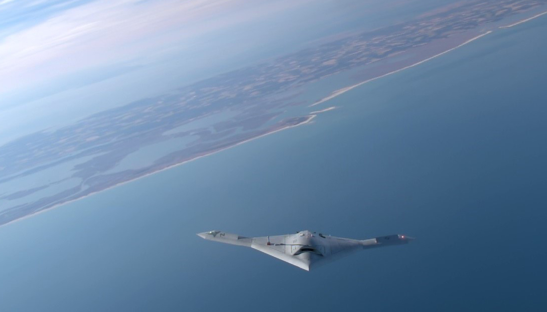 A X-47B during a March 2015 test flight. US Navy Photo