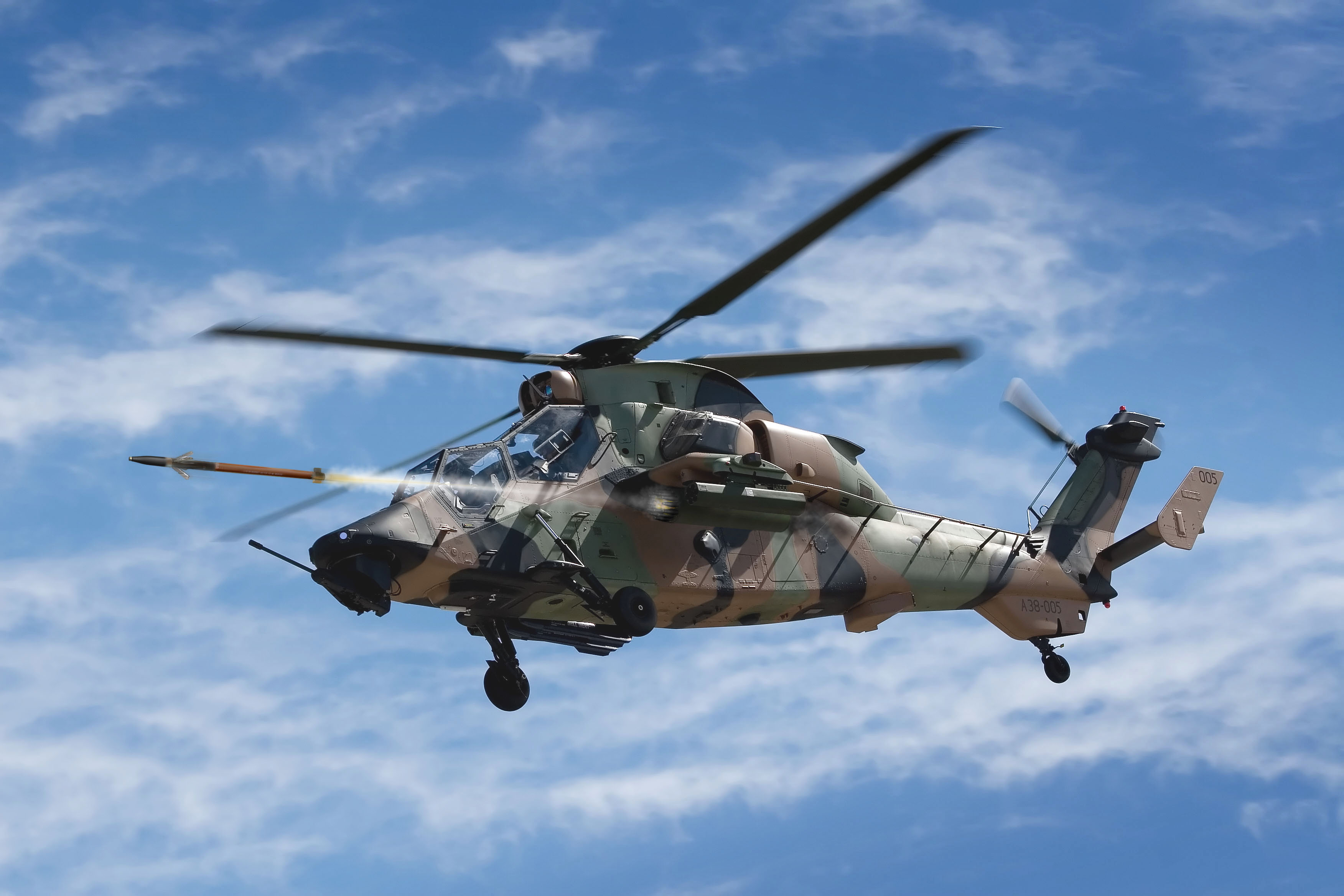 The Australian Defence Force aims to field the APKWS rocket on its Airbus Tiger Armed Reconnaissance Helicopter. Artist rendering provided by BAE Systems.